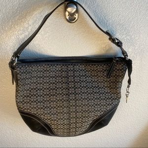 Coach Signature Fabric Hobo with Leather Accents